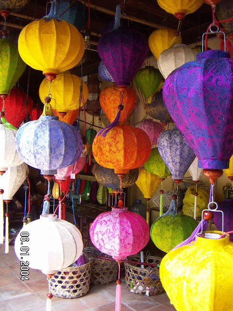 Handmade lanterns in a traditional craft workshop in Hoi An