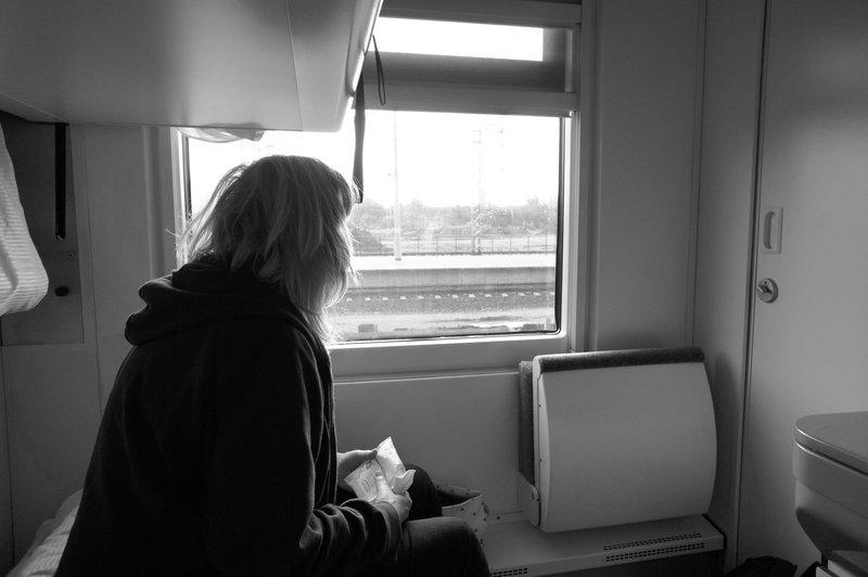 On board the night train to Warsaw