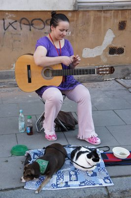 Busker with pets