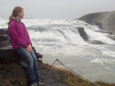 Meg at the Gullfoss waterfall.