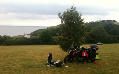Our campsite - Dover, overlooking the channel. Dropped the bike on the soft turf...1 down 3 to come!