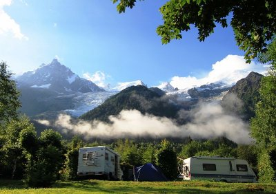 Our campsite at eh foot of Mont Blanc near Chamonix