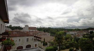 View from hotel window in Roquefort - welcome shelter from rain!