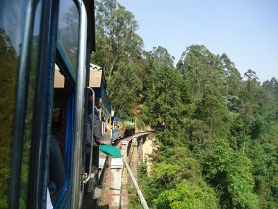 On board the mini train from Ooty