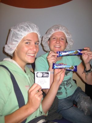 Our First Free Chocolate Bar and the Attractive Hair Nets You Have To Wear Round The Factory
