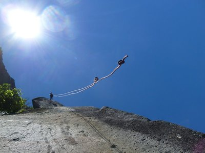 Abseiling Down to a Ledge, Which the Ropes Dont Quite Reach...
