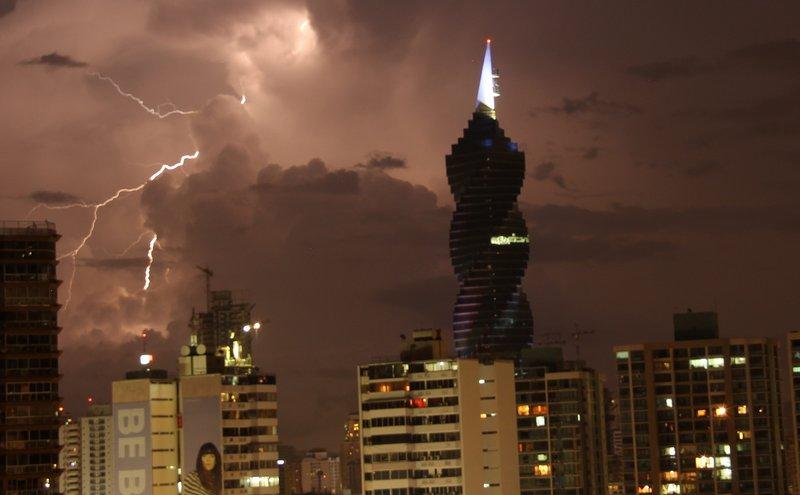 Panama City skyline w/lightning