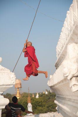 This monk was acting more like a monkey!