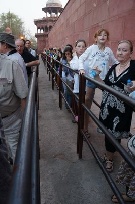 The queue for the Taj Mahal split into male and female lines