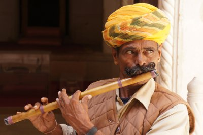 One of the many musicians playing traditional music within the fort walls