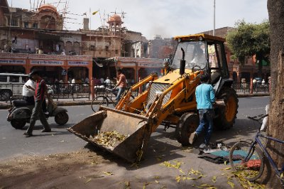 The councel workers in Jaipur sweeping up the leaves on the street.  No wonder the country is so filthy!