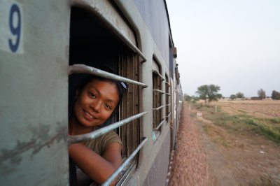 Rina getting some air on our train the Agra