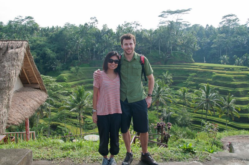 Rina and Adam, photo over cascading rice paddy fields in Bali 02/11/11