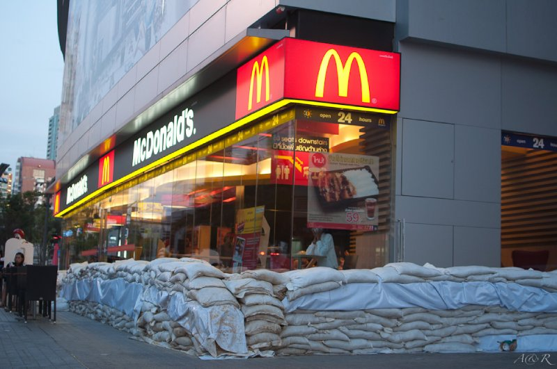 The city was lined with sand bags