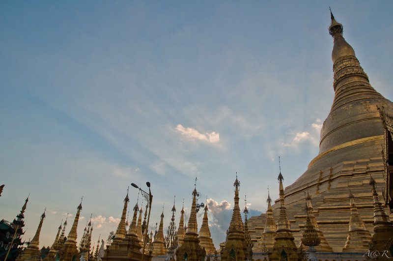 Shwedagon Zedi Daw, Gold Dagon Pagoda. Eclipses all other monuments in the country with its size and majesty. We spent hours in the area as the pagodas transform with changes in lighting from afternoon to evening.