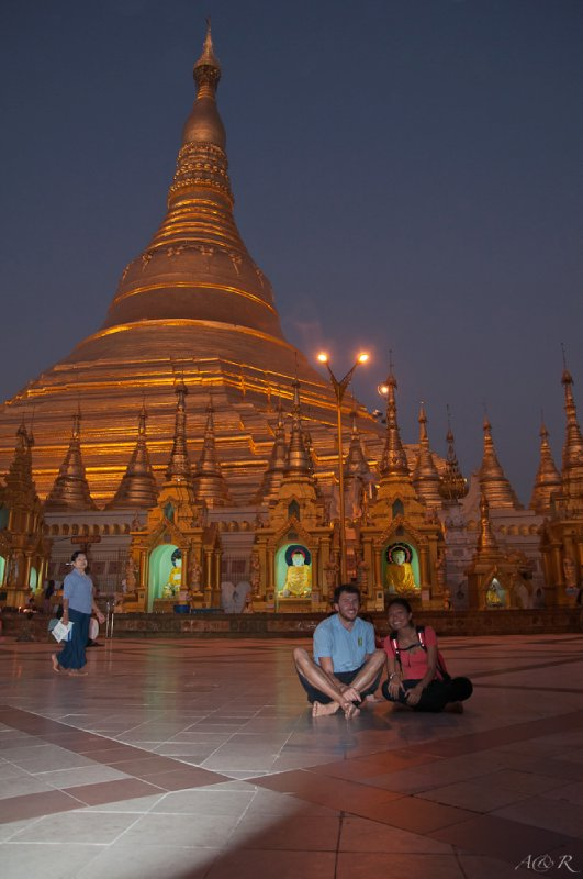 Dwarfed by the main pagoda that also dominates the Yangon skyline