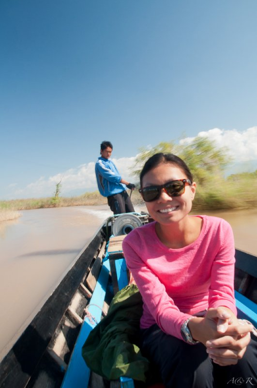 Racing around Inle Lake with our guide Miu