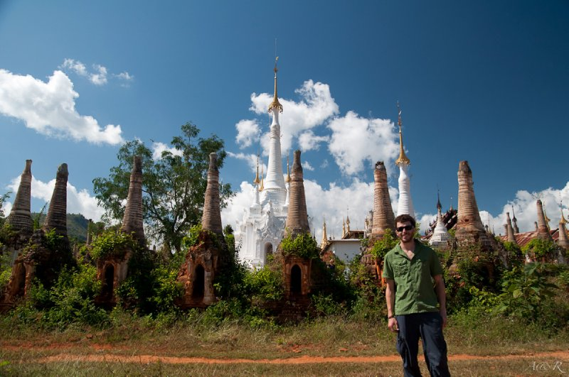 Adam with some of the 1,000 stupas at Indein