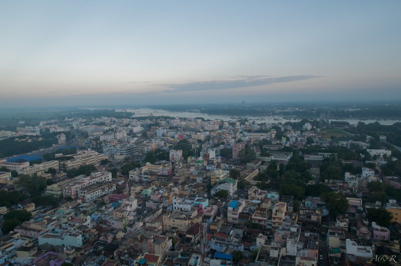 Colourful chaos of buildings in Trichy, viewed from the top of Rock Fort Temple