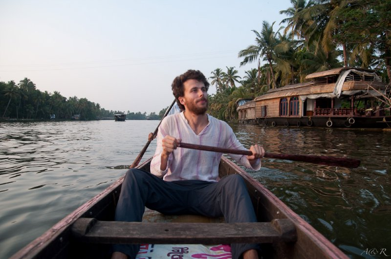 Exploring the smaller canals of the backwaters on canoe