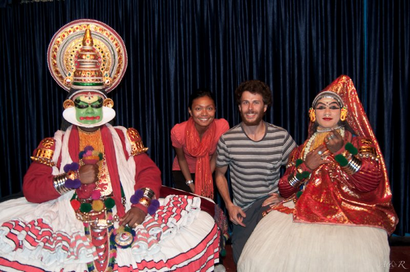On stage with the actors of a Kathakali drama show in Kumily, where all parts are performed by men only
