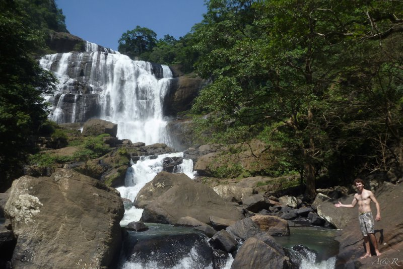 The beautiful waterfall we had to ourselves after climbing and rock hopping through a hidden path