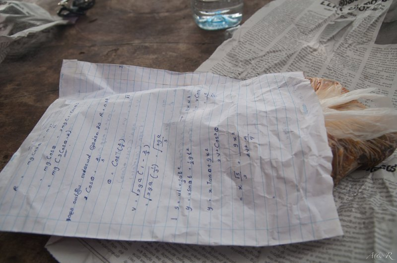 Taking recycling to a new level with old algebra notes used as takeaway packaging