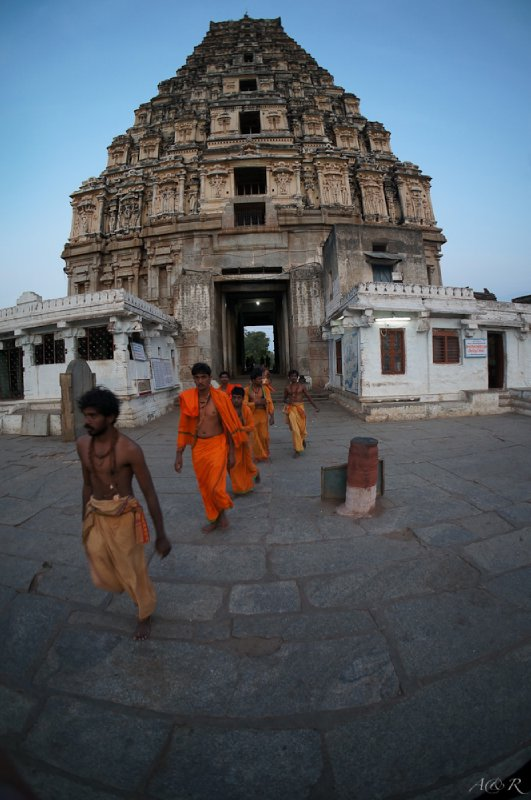 Hindu Pilgrims walking into the town's main temple