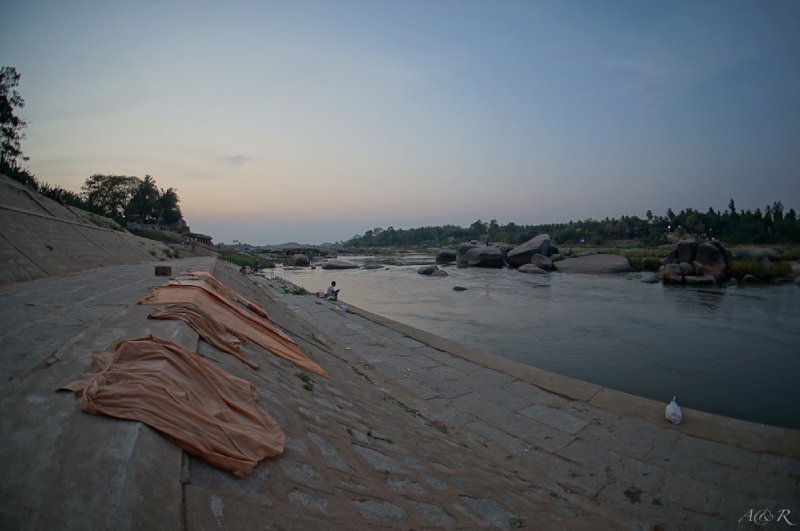 Hindu robes drying on Hampi's Ghats
