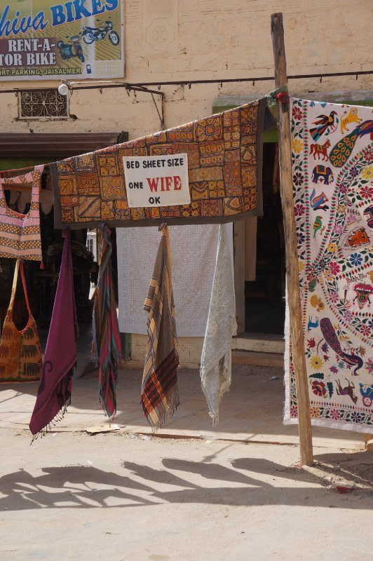 The markets outside the sandy fort town of Jaisalmer on the western side of Rajasthan