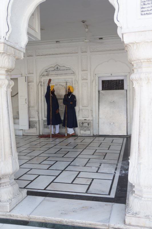 Two Sikhs in traditional gear in the Golden Tample complex
