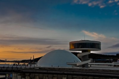 Niemeyer Center tower and dome at sunset (Avilés)
