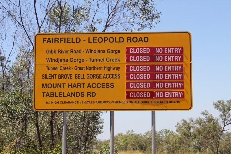 Closed side roads from the Gibb River Road