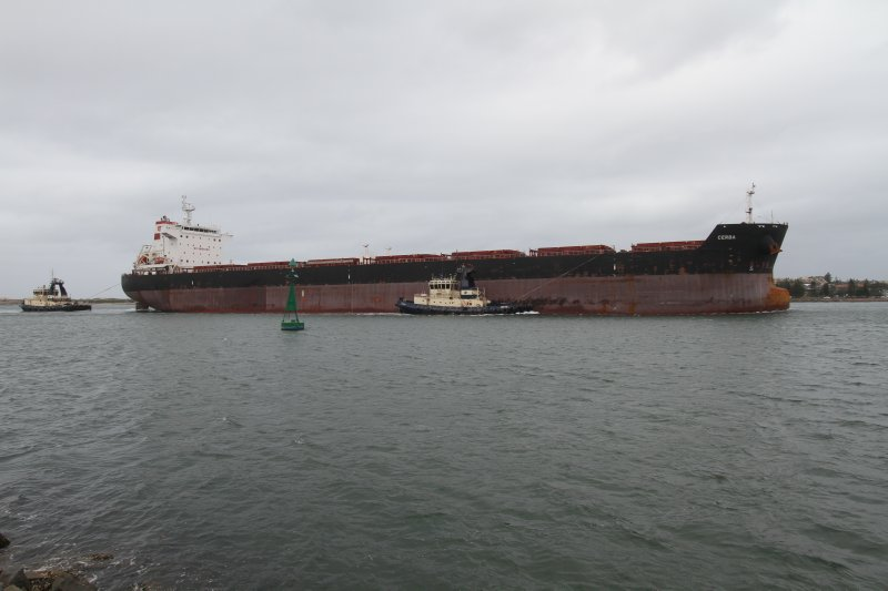 Coal ship entering the Hunter