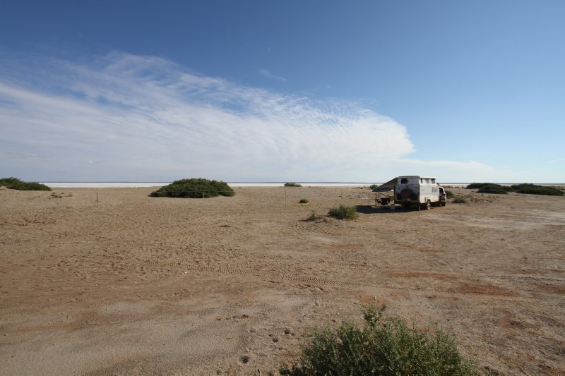 Halligan Bay campsite at Lake Eyre