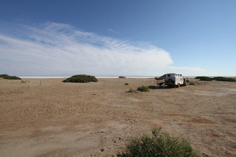 Halligan Bay campsite at Lake Eyre