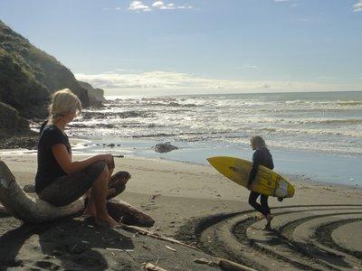 Auf dem Weg in die Wellen...