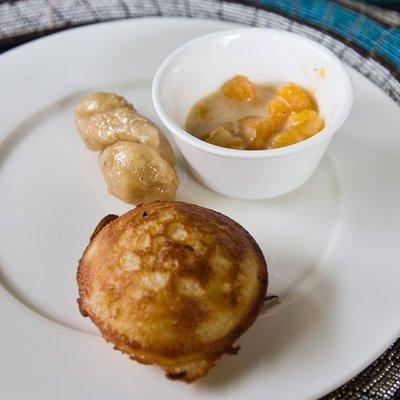 Jikoni African Restaurant - Dessert ('Doughnuts', Rice Flour Cakes, Butternut Squash in Coconut Milk with Cardamom)
