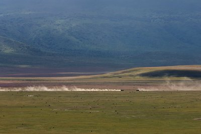 Two cars in Ngorongoro Crater