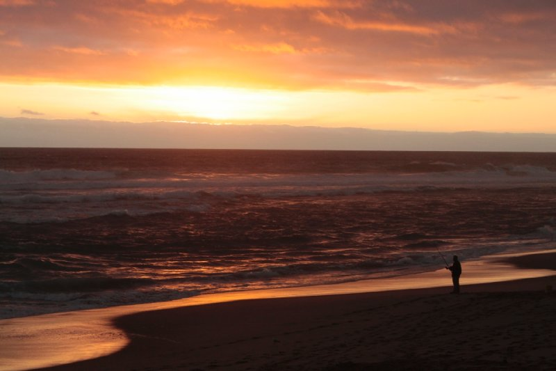 prachtige zonsondergang aan het strand van onze kampplek, Johanna beach.