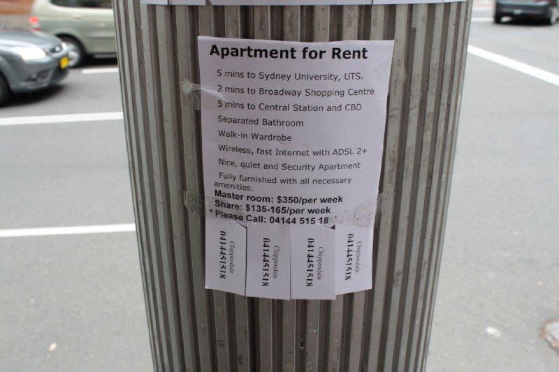 Een appartementje huren in Sydney centrum? U bent minstens 350 dollar per week kwijt voor een wel erg kleine ruimte!