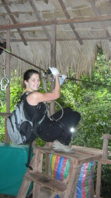 zip lining out of the tree house