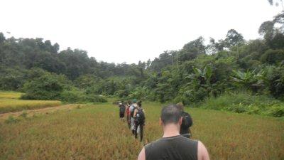 trekking in the rain