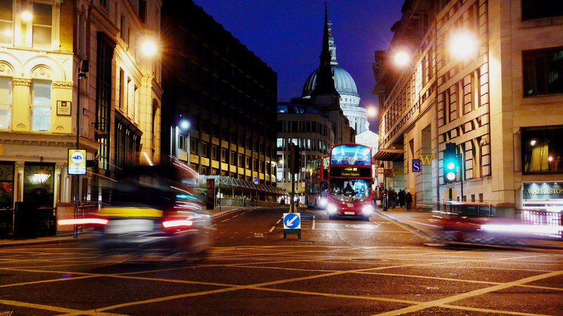 Ludgate Circus on a Saturday evening with St Paul's and St Martin