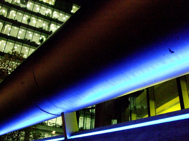 An office in London lit up at night