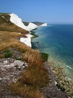 The Seven Sisters (or at least some of them) with Belle Tout lighthouse beyond