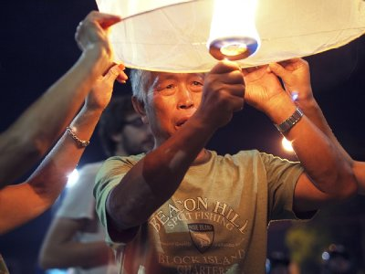 Getting krathong sawan ready to release