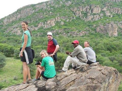8. Bush camp, Tsedilo, group photo on rocks