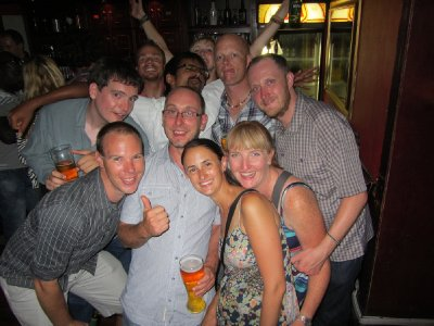 8. Final night drinks, most of the gang, Cape Town, SA
