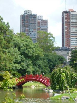 Red bridge at Japanese Garden